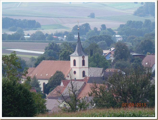 Blick auf Kirche in Neibsheim