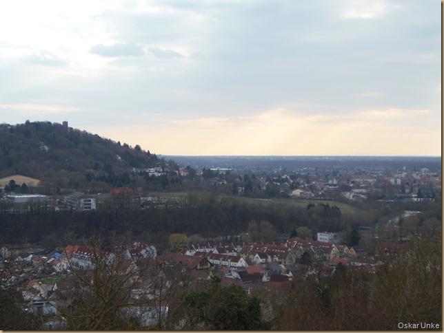 Blick auf Turmberg, Grötzingen und Durlach